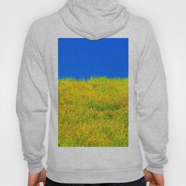 yellow poppy flower field with green leaf and clear blue sky Hoody