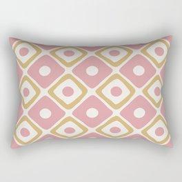 Mid Century Modern Diamond Dot Pattern 430 Dusty Rose and Gold Rectangular Pillow