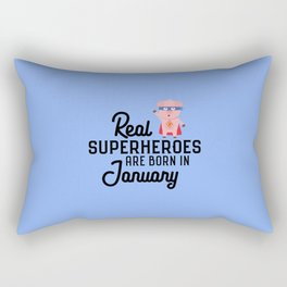 Superheroes-are-born-in-January T-Shirt Df1q5 Rectangular Pillow