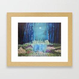 Nightfall at the pond Framed Art Print