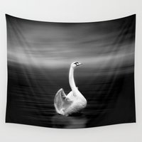 swan Wall Tapestries featuring Swan by Shaila