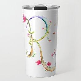 Letter R watercolor - Watercolor Monogram - Watercolor typography - Floral lettering Travel Mug
