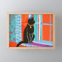 Black Cat on the Windowsill Framed Mini Art Print
