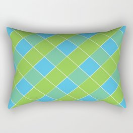 PLAID, NEON BLUE AND LIME GREEN Rectangular Pillow