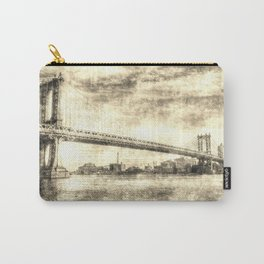 Manhattan Bridge New York Vintage Carry-All Pouch
