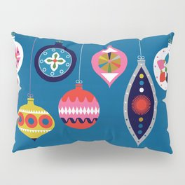 Retro Christmas Baubles on a dark background Pillow Sham