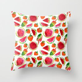 Watercolor watermelon and strawberries fruit popsicles illustration Throw Pillow