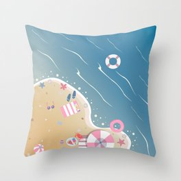 Isolated Beach Paradise with crystal waters Throw Pillow