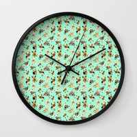 yorkie Wall Clocks featuring Yorkie Pattern by Bark Point Studio
