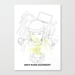 Don't waste electricity Canvas Print
