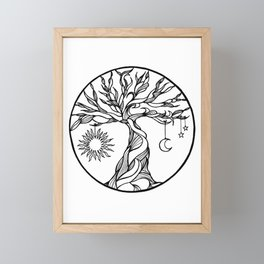 black and white tree of life with hanging sun, moon and stars I Framed Mini Art Print