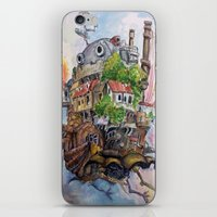 calcifer iPhone & iPod Skins featuring Howls Moving Castle Painting 2 by Little Miss Marikit