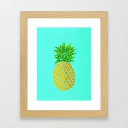 Pineapple on Teal Framed Art Print
