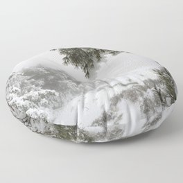 """""""Snowy forest"""". At the foggy mountains... Floor Pillow"""