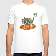 Pepperoni, Black Olives and Cat SMALL White Mens Fitted Tee