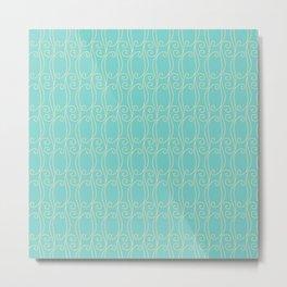 Vintage abstract teal cream geometric wave swirl pattern Metal Print