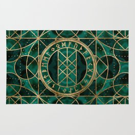 Web of Wyrd The Matrix of Fate - Gold and Malachite Rug