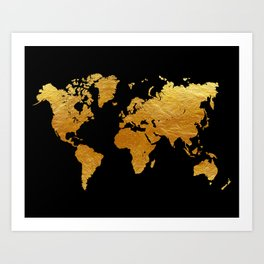 Black and Gold Foil World Map Art Print