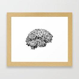 flower brain black and white Framed Art Print