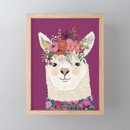 Alpaca with flowers on head. Purple Framed Mini Art Print