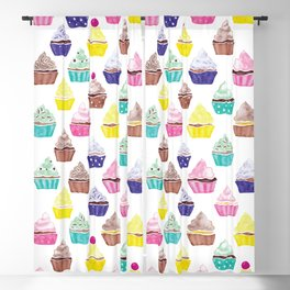 Watercolour Cupcakes Pattern Blackout Curtain