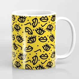 Face Time - retro throwback minimal pattern eyes faces 1980s 80s vintage memphis drawing monochrome Coffee Mug
