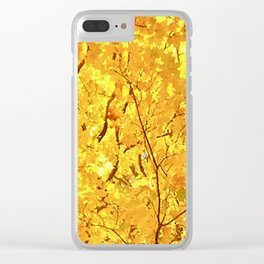 Bright Yellow Fall Maple Leaves I Clear iPhone Case