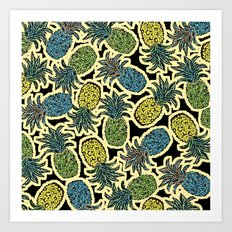 Pineapple Pandemonium - Retro Tones Art Print