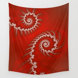 Red and White Striped Swirl - Fractal Art Wall Tapestry