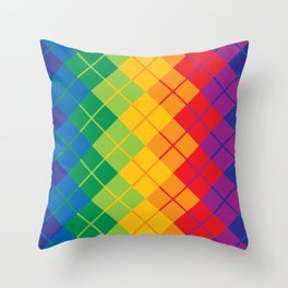Rainbow Argyle Throw Pillow