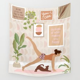 Yoga Girl Power with cat & plants Wall Tapestry