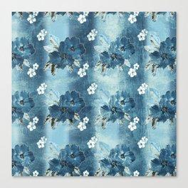 Distressed Denim Hibiscus Stripe Canvas Print