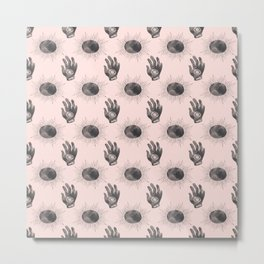 Hand and Eye of wisdom pattern - Pink & Black - Mix & Match with Simplicity of Life Metal Print
