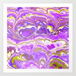 Lilac Marbled Ink Art Print