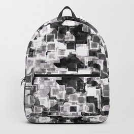 White Cyber Glow Neon Squares Pattern Backpack