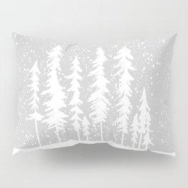 Snowy Winter Forest - Gray Pillow Sham