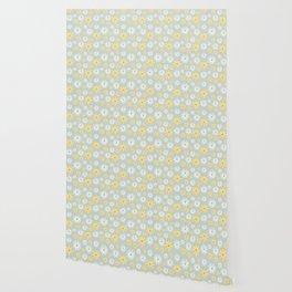 Watercolour Daisies Pattern | Grey Wallpaper