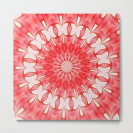Star White and Red Butterfly Motif Mandala Metal Print