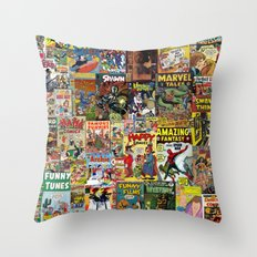 Comic Book Cover Collage Throw Pillow