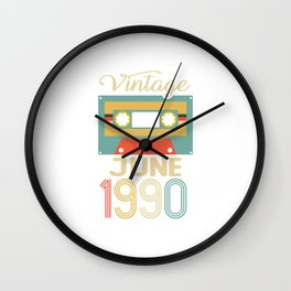 Vintage June 1990 30th Birthday 30 Year Gift Wall Clock