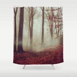 Late fall Forest in Fog Shower Curtain