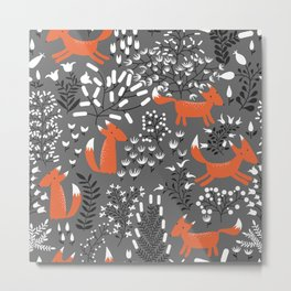 Autumn Foxes Pattern Metal Print