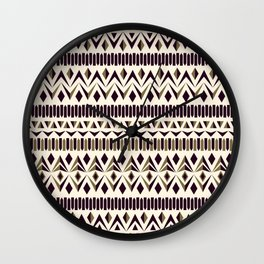 Tribal dance beige, gold and dark maroon Wall Clock