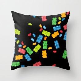 Jelly Beans & Gummy Bears Explosion Throw Pillow