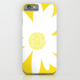 Only One White Daisy Flower Yellow Mellow Background #decor #society6 #buyart iPhone Case