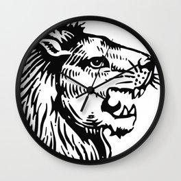 Lions Head Black Wall Clock