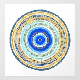 Turquoise Evil Eye Mandala Art Print