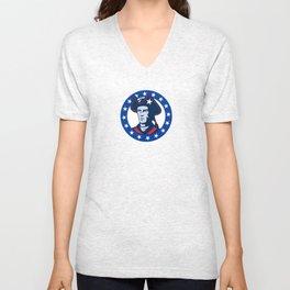 american patriot minuteman stars retro Unisex V-Neck
