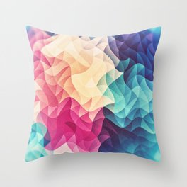 Geometry Triangle Wave Multicolor Mosaic Pattern - (HDR - Low Poly Art) Throw Pillow