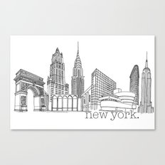NYC Landmarks by the Downtown Doodler Canvas Print